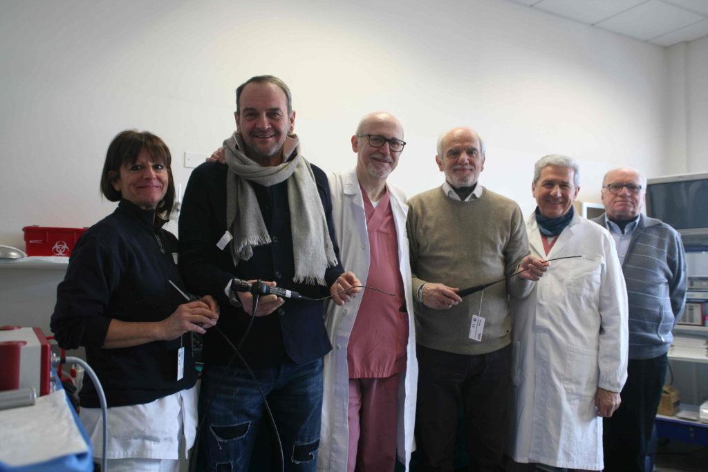 Schenetti e Dugoni con Gambelli e Baldi presentano i nuovi strumenti nell'ambulatorio di ORL