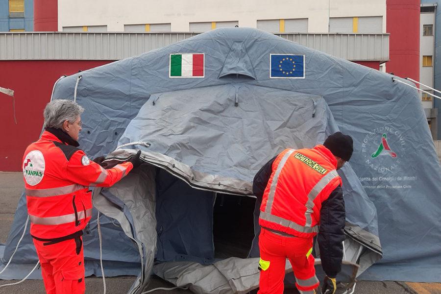 Sassuolo, installata una tenda 'filtro' della Protezione civile per l'accesso al Pronto Soccorso